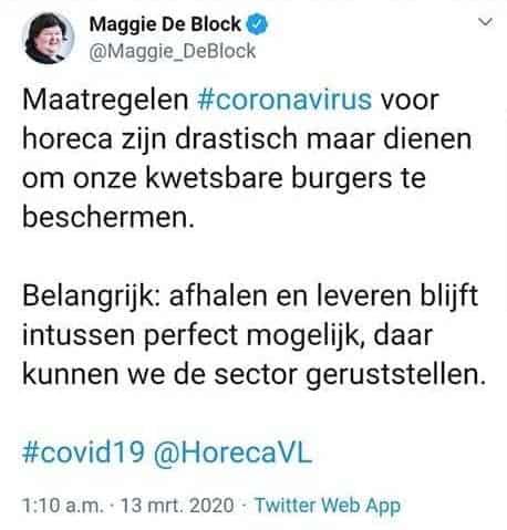 Coronacrisis: alle horeca in België moet dicht. Horecanoodfonds zal noodzakelijk zijn