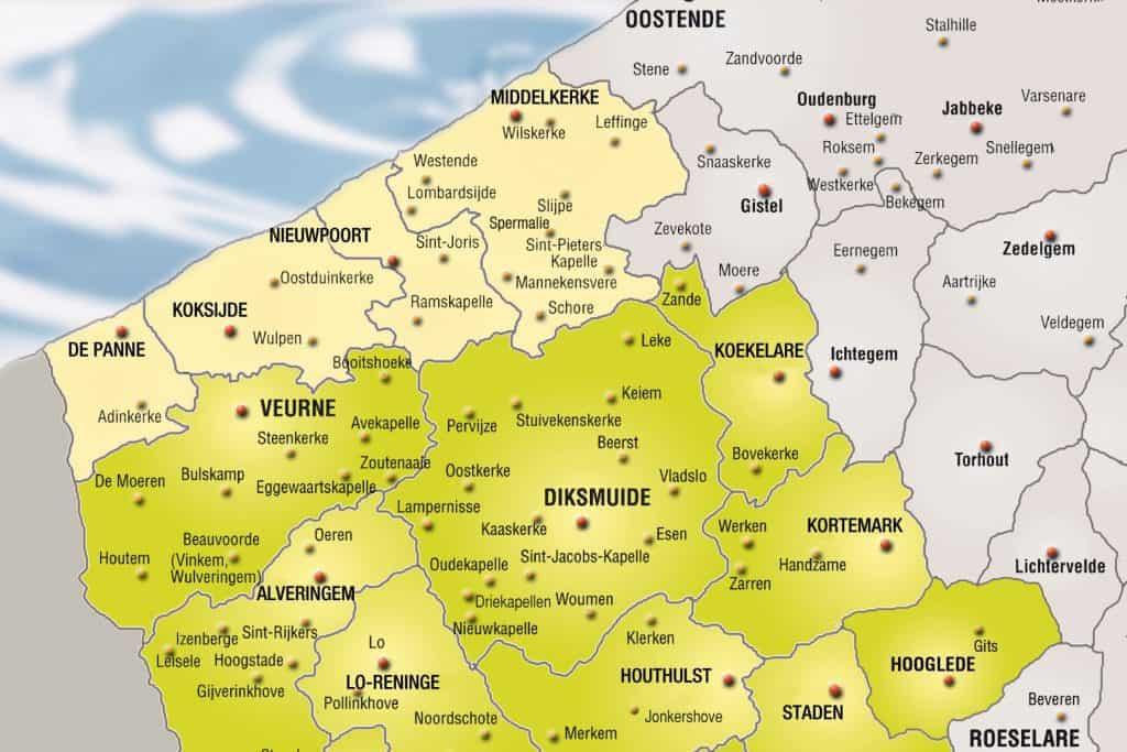 Kaart Westhoek Diksmuide scheeweghe